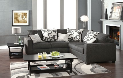 FURNITURE OF AMERICA, CANBROOK  2PCS SECTIONAL MEDIUM GRAY, SM3015