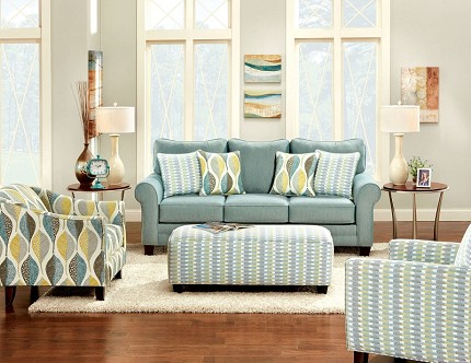 2 PCS SOFA SET SOFT TEAL