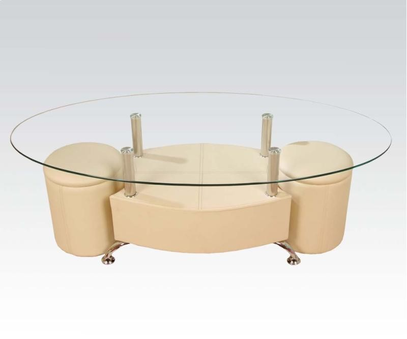 ACME, 3 PC COFFEE TABLE & OTTOMANS, 82020
