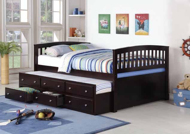 ASIA DIRECT, FULL CAPTAIN BED  WITH TRUNDLE AND STORAGE ESPRESSO, 8411