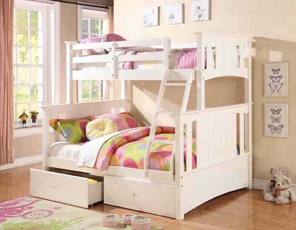 ASIA DIRECT, TWIN/FULL BUNK BED WHITE FINISH ,  AD-8425