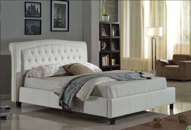 ASIA DIRECT, QUEEN PU BED WHITE, 8718-WH