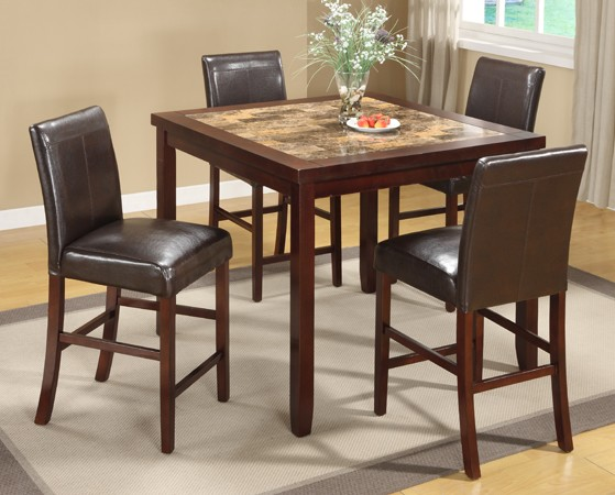 ASIA DIRECT, 5PCS COUNTER HEIGHT TABLE SET + 4 ESPRESSO PU CHAIRS, 9331