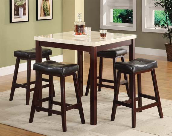 ASIA DIRECT 5 PC DINETTE SET, TABLE+4 STOOLS, 9393
