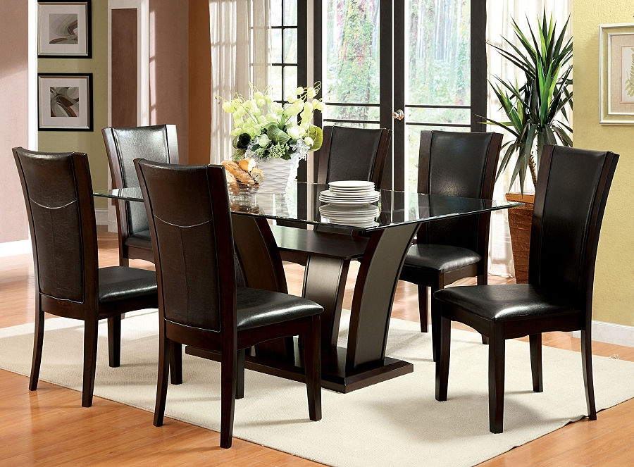7PCS DINETTE SET GLASS TOP TABLE + 6 SIDE BLACK CHAIRS