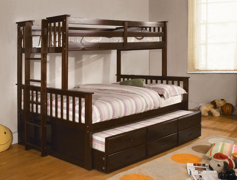 UNIVERSITY TWIN FULL BUNK BED DARK WALNUT (TRUNDLE SOLD SEPARATELY)