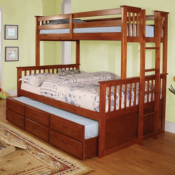 UNIVERSITY TWIN FULL BUNK BED (TRUNDLE SOLD SEPARATELY)