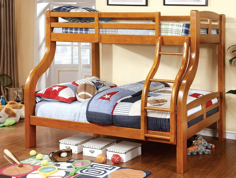SOLPINE TWIN/FULL BUNK BED OAK FINISH