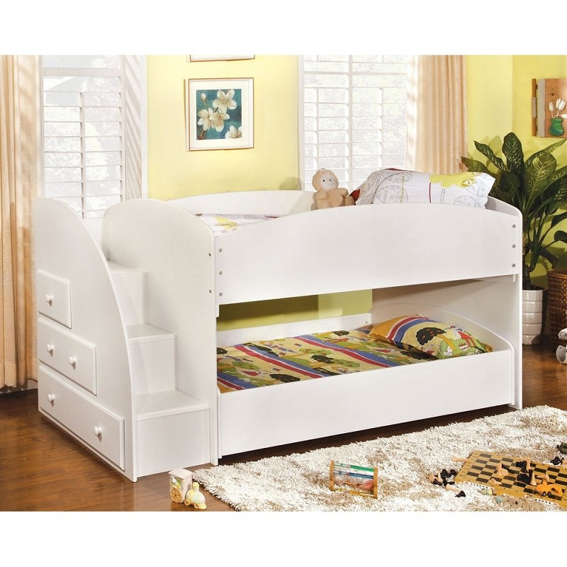 TWIN/TWIN BUNK BED IN WHITE