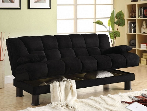 BONIFA BLACK MICROFIBER  SOFA BED