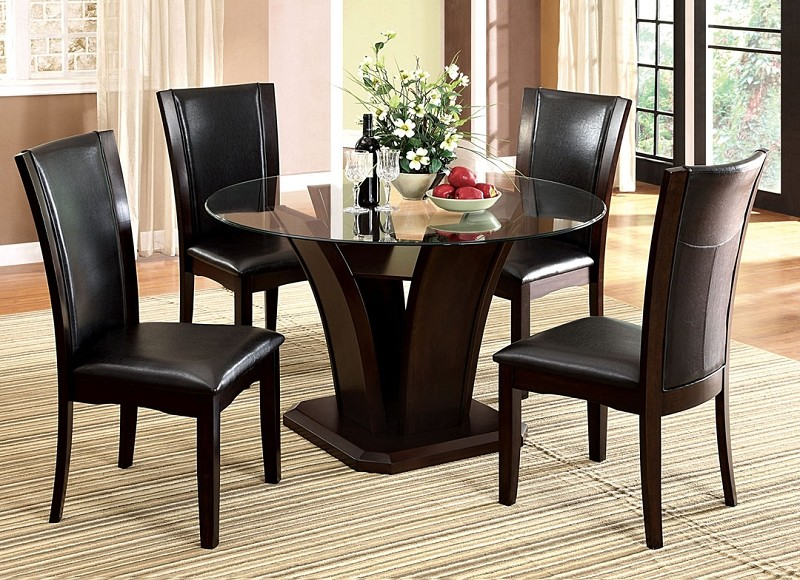 5PCS DINETTE SET GLASS TOP TABLE + 4 BLACK SEAT CHAIRS