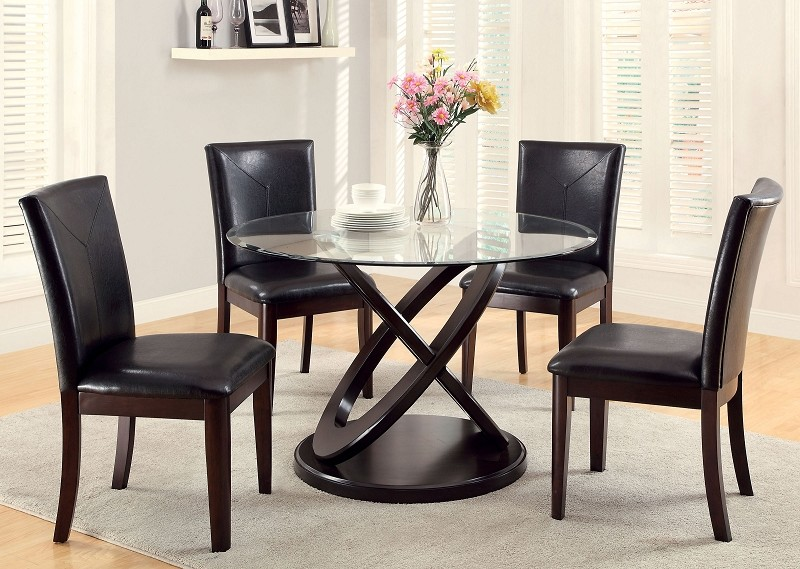 5 PCS DINETTE SET ROUND TABLE + 4 SIDE CHAIRS.