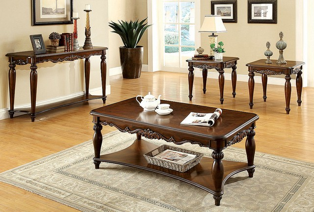 3PCS SET TABLE , 1COFFEE TABLE+2END TABLES CHERRY FINSIH