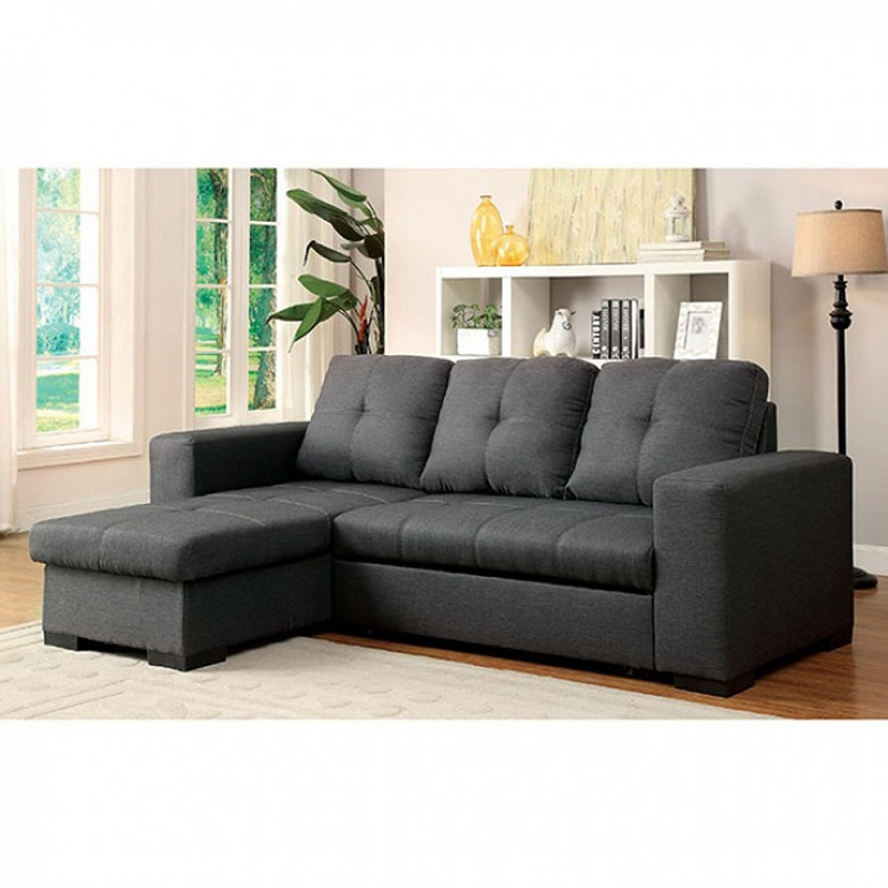 FURNITURE OF AMERICA SECTIONAL W STORAGE CHAISE AND SOFA BED