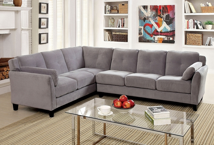 FURNITURE OF AMERICA PEEVER II SECTIONAL IN GRAY, CM6368GY