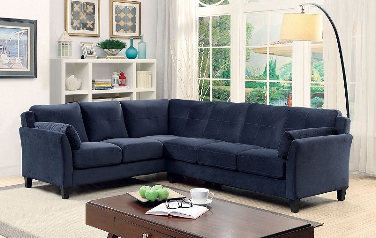 FURNITURE OF AMERICA PEEVER II SECTIONAL IN NAVY BLUE, CM6368NV