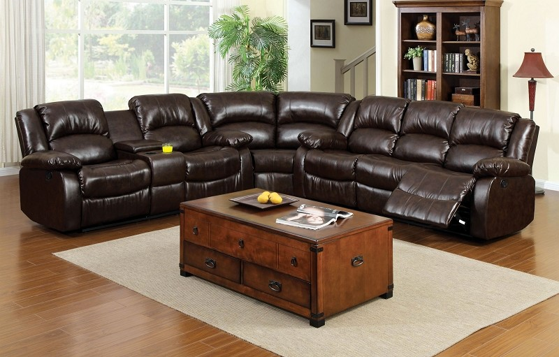 SECTIONAL WITH 4 RECLINERS AND CENTER CONSOLE BROWN RUSTIC BROWN
