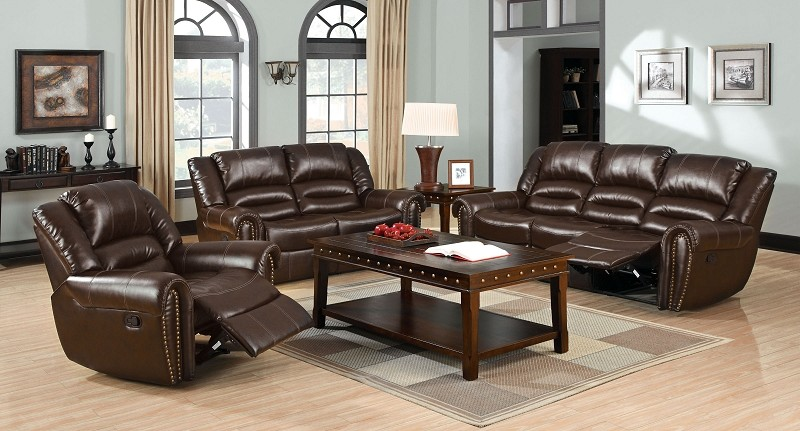 2 PCS SOFA SET WITH 4 RECLINERS DARK BROWN (CHAIR SOLD SEPARATELY)