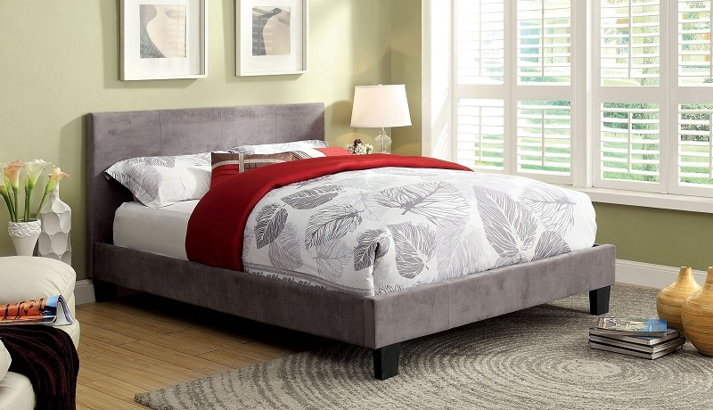 QUEEN BED GRAY FABRIC