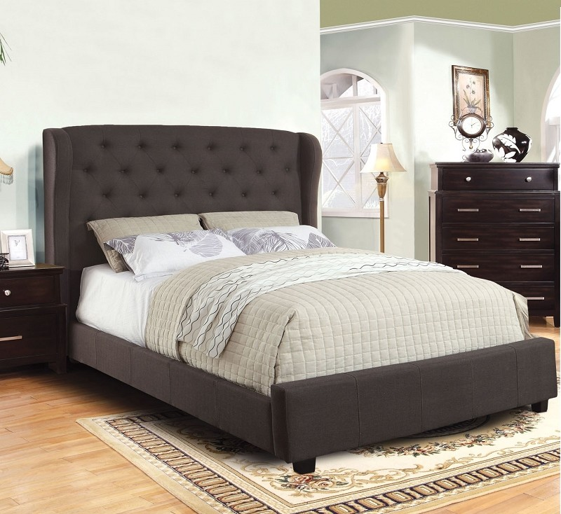 QUEEN BED GRAY PADDED FLAX FABRIC