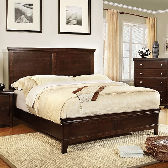 QUEEN BED BROWN CHERRY FINISH