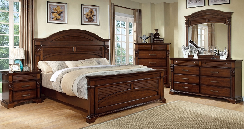 QUEEN BED  ANTIQUE WALNUT