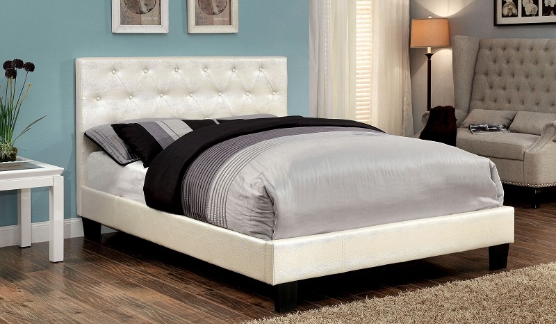 QUEEN BED  PEARL WHITE