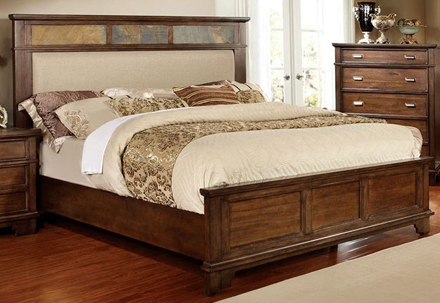 QUEEN BED BROWN CHERRY