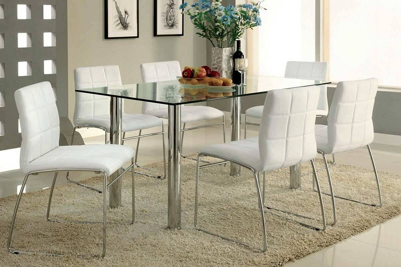 7 PCS  DINING TABLE GLASS TOP + 6 SIDE CHAIRS