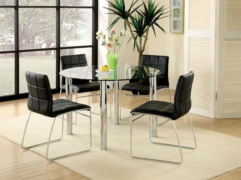 5PCS ROUND DINING TABLE GLASS TOP + 4 SIDE CHAIR