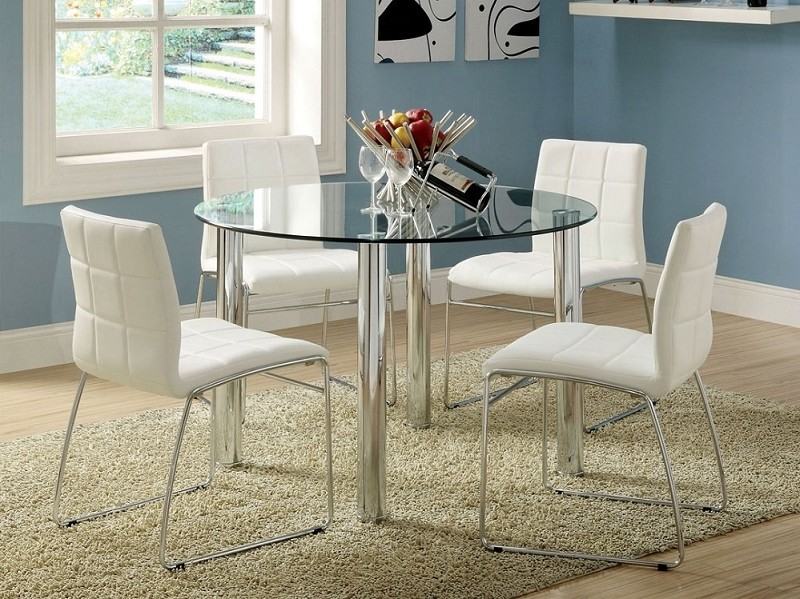 5PCS GLASS ROUND TABLE  + 4 SIDE CHAIRS