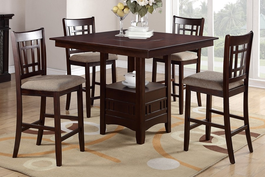POUNDEX, 5PCS WOODEN COUNTER HEIGHT DINING TABLE SET, F2346, F1205