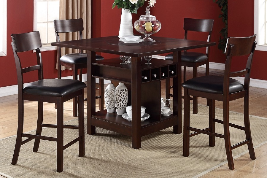 POUNDEX 5PCS WOODEN COUNTER HEIGHT DINING TABLE SET, F2347, F1207