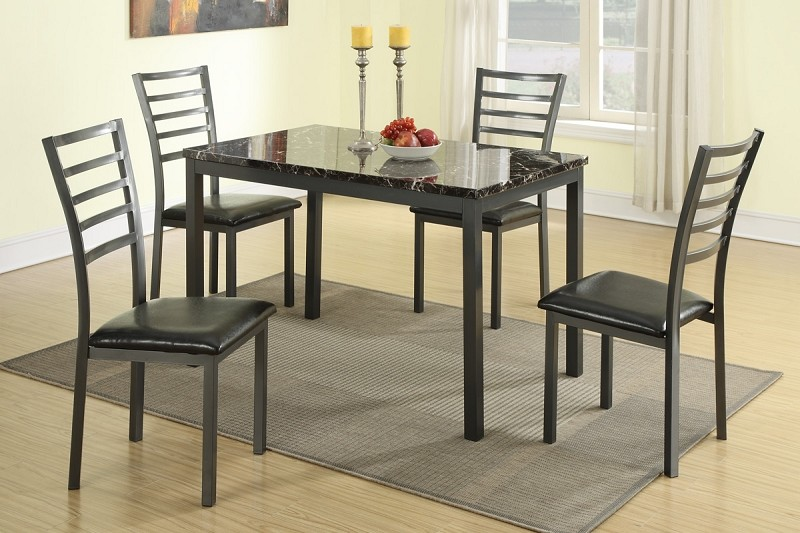 POUNDEX, 5 PC SET TABLE  + 4 CHAIRS,   F2368