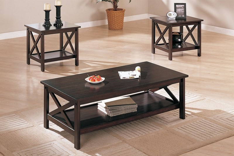 POUNDEX, 3PCS SET TABLES, 1 COFFEE TABLE + 2 END TABLES, F3069