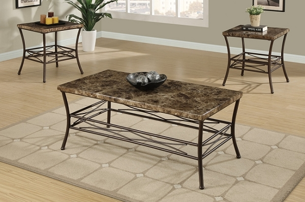 POUNDEX, 3PC SET TABLE FAUX MARBLE, 1 COFFEE TABLE + 2END TABLES, F3097