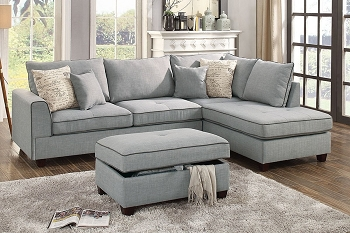 POUNDEX, 3 PCS SECTIONAL LIGHT GRAY, F6543