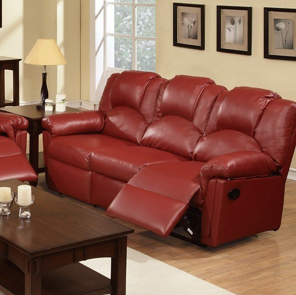 POUNDEX, MOTION SOFA W/2 RECLINERS BURGUNDY BONDED LEATHER, F6678