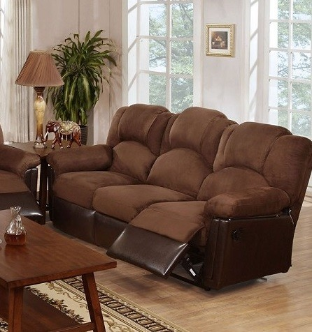 POUNDEX MOTION SOFA W/2 RECLINERS , CHOCOLATE MICROFIBER, F6682