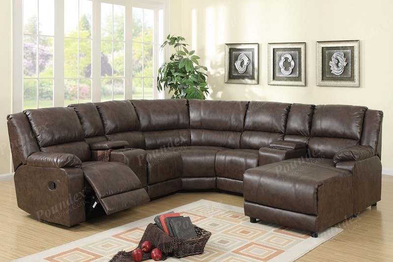 POUNDEX SECTIONAL SOFA SET W/1 RECLINER, & CONSOLE AND PUSH BACK CHAISE, F6746