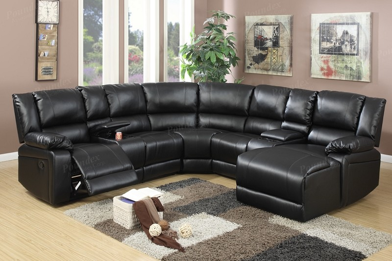 POUNDEX SECTIONAL SOFA SET W/1 RECLINER, & CONSOLE AND PUSH BACK CHAISE, F6745