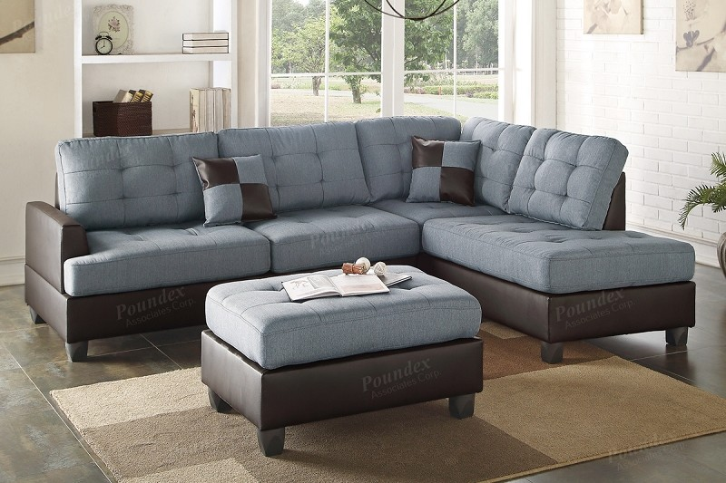 POUNDEX BRAND NEW SECTIONAL + OTTOMAN, F6858