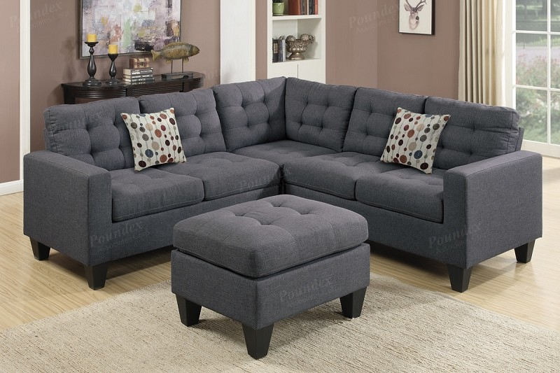 POUNDEX, SECTIONAL + OTTOMAN BLUE GREY, F6935