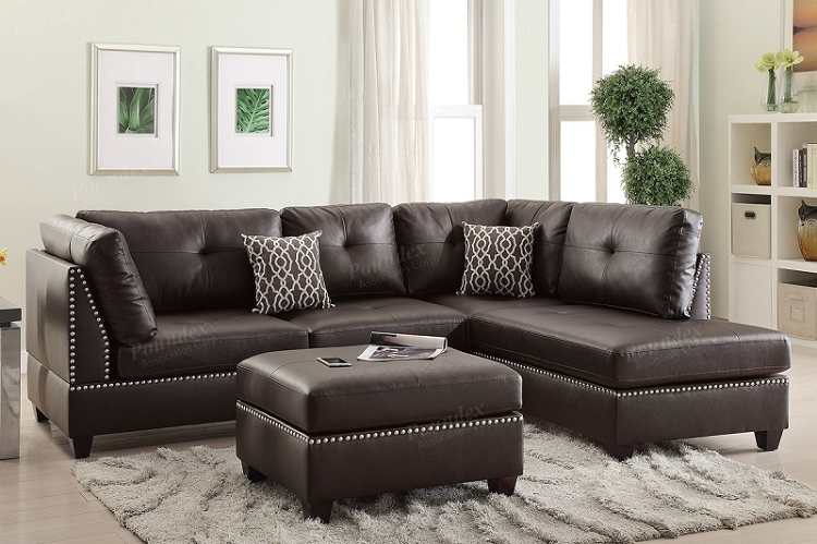 POUNDEX BRAND NEW 3 PCS SECTIONAL ESPRESSO BONDED LEATHER, F6973