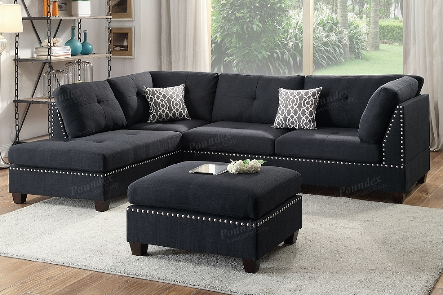 POUNDEX BRAND NEW 3 PCS SECTIONAL BLACK LINEN-LIKE FABRIC, F6974