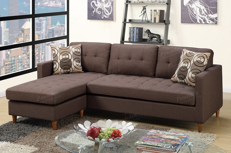 POUNDEX REVERSIBLE SECTIONAL CHOCOLATE POLYFIBER, F7086