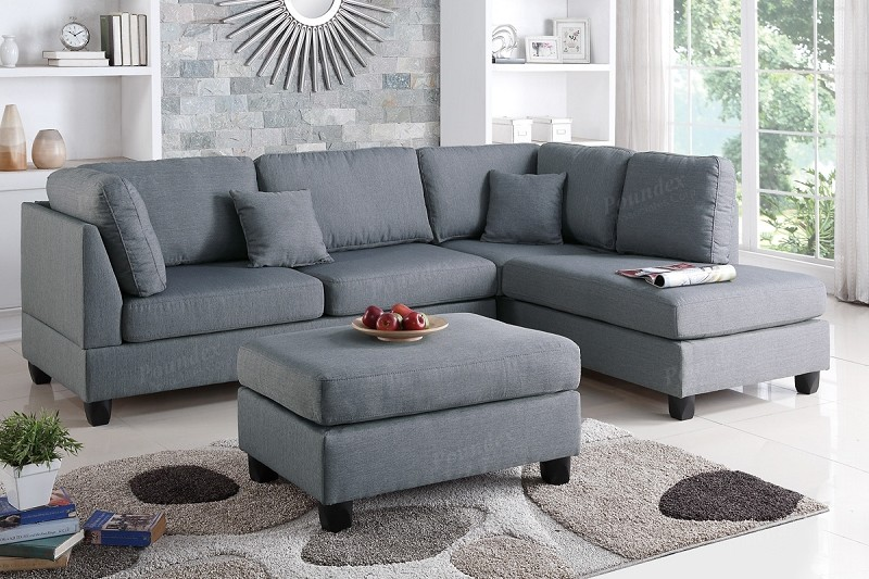 POUNDEX 2 PCS SECTIONAL WITH OTTOMAN, F7606