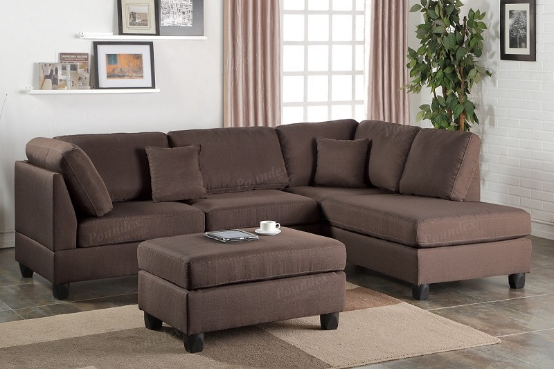 POUNDEX 2 PCS SECTIONAL WITH OTTOMAN, F7608