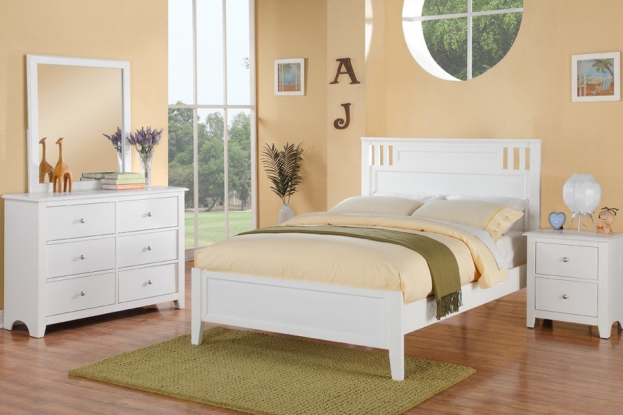 POUNDEX, FULL BED SOLID WOOD WHITE FINISH, F9123F