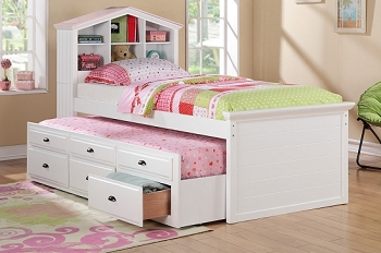 POUNDEX, TWIN BED+TRUNDLE+3 DRAWERS WHITE/PINK FINISH, F9223